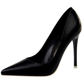 [dhiuebc] ポインテッドトゥ パンプス レディース 歩きやすい 痛くない 美脚 ピンヒール 黒 革 靴擦れ防止 ソフトクッション 美脚 ブラック ハイヒール 7色 無地 26.0cm ローヒール ピンヒール 10.5cm 男女兼用 結婚式 通勤 柔らか