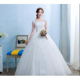 お花 フレンチスリーブ 編上げ 冠婚 ロング丈ワンピース 着痩せ 韓国風 パーティードレス ウェディングドレス 結婚式 大きいサイズ ブラ