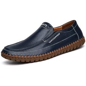 メンズ シューズ 快適 男性のためのドライビングローファーフラットスリップオンビジネス本革の靴ステッチラウンドトゥロートップラバーアウトソール滑り止め (Color : 濃紺, サイズ : 24 CM)