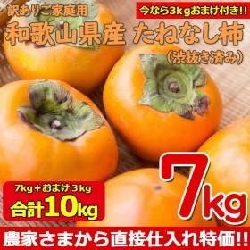 今ならオマケで3kg増量!合計10kg!(送料無料)和歌山県産 たねなし柿 (渋抜き) 7kg+おまけで3kg増量中(ご家庭用)(予約/10月中旬より順次発送)