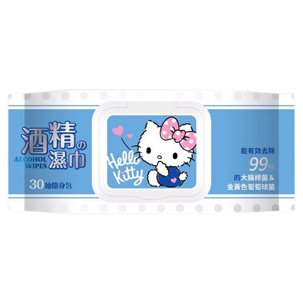 Hello Kitty 酒精濕巾(加蓋30抽)【小三美日】三麗鷗授權 D503731