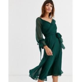 エイソス ASOS DESIGN レディース ワンピース ラップドレス ラップスカート ミドル丈 midi dress with layered skirt and wrap waist wit