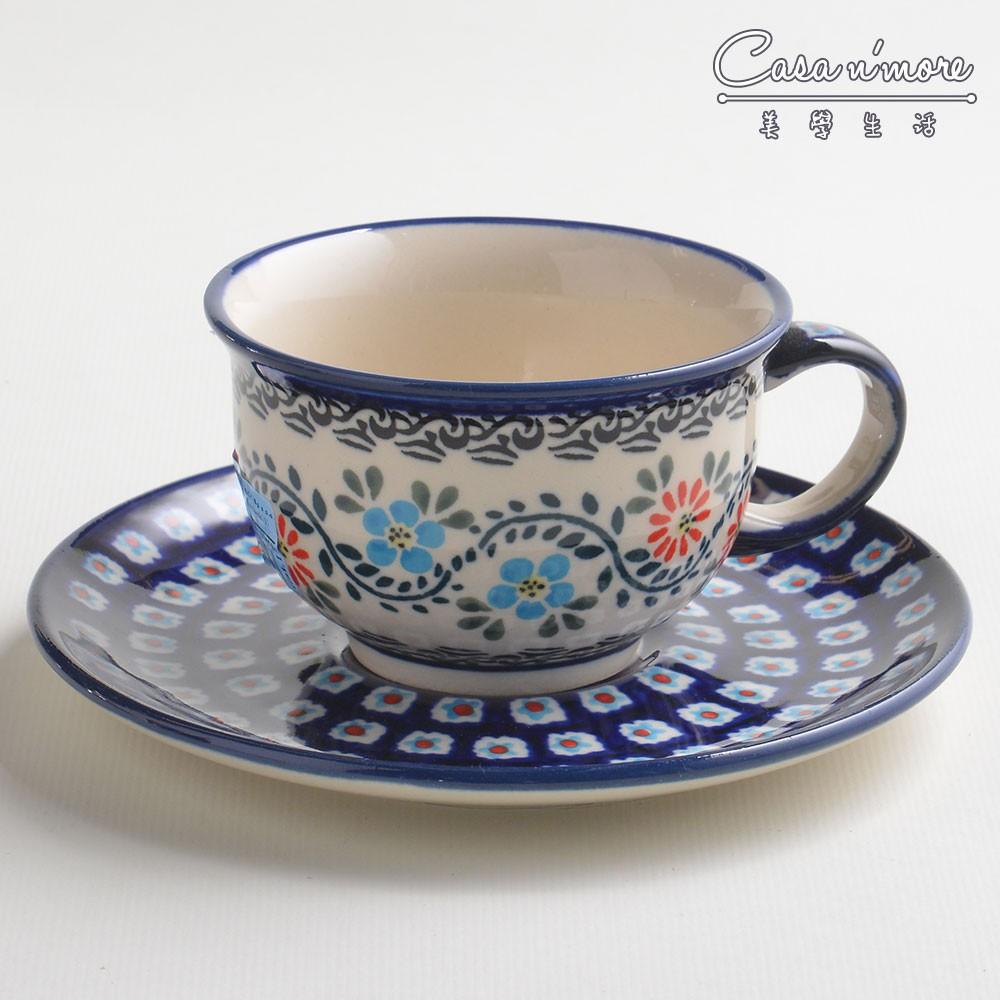 波蘭陶 典雅花團系列 花茶杯盤組 馬克杯 點心盤 220 ml 波蘭手工製