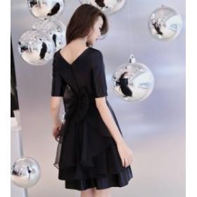 ウエストリボン 結婚式 パーティードレス 袖あり ミニドレス 黒 大きいサイズ ミニ 膝丈 ドレス 小さいサイズ 3L 4L 二次会 お呼ばれ