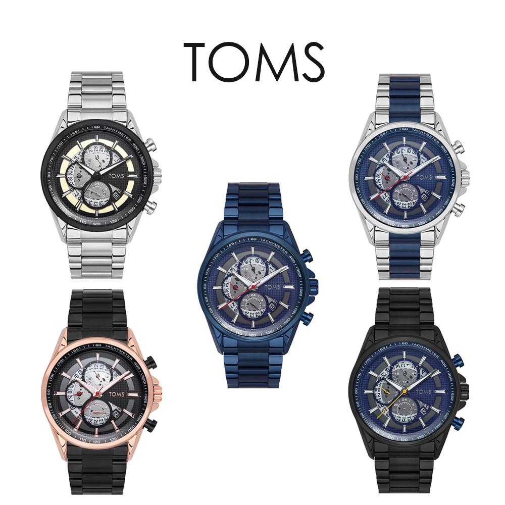 TOMS 鋼鐵格紋三眼手錶(81803)
