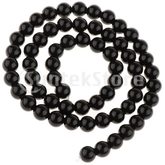 6 mmを作る宝石類のための滑らかな表面の黒いオニキス瑪瑙ラウンドルースビーズ