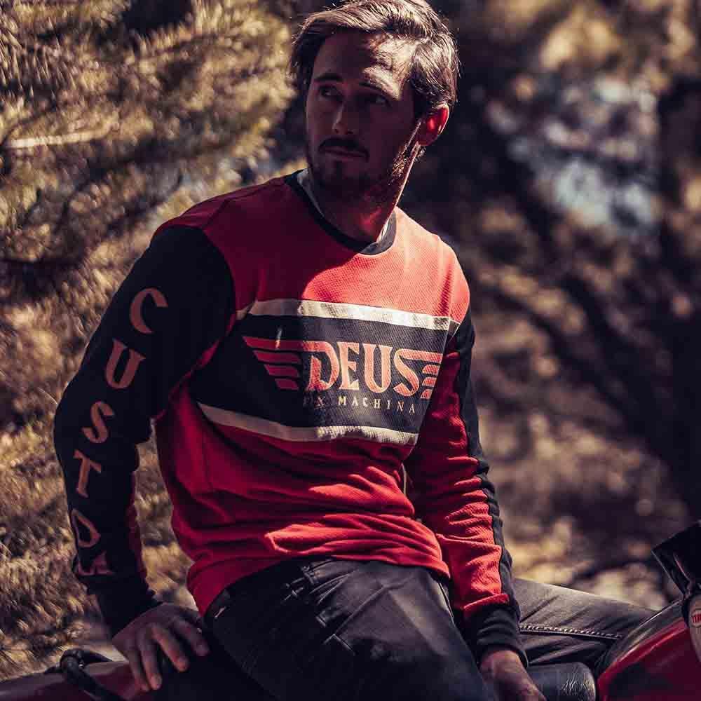 Deus Ex Machina Ruben Moto Jersey 長袖T恤-黑紅(男/女)