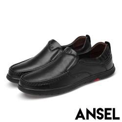 【Ansel】全真皮頭層牛皮手縫車線平底休閒紳士鞋 黑