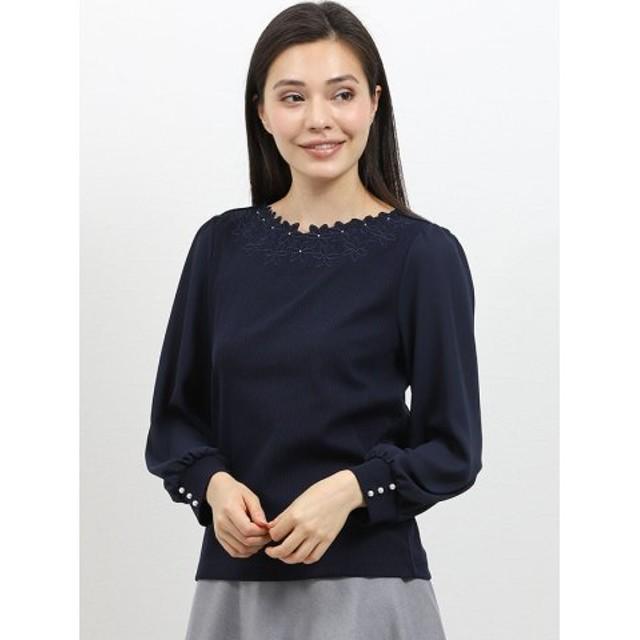 (TAKA-Q/タカキュー)テレコ刺繍袖切替クルーネック長袖プルオーバー/レディース ネイビー