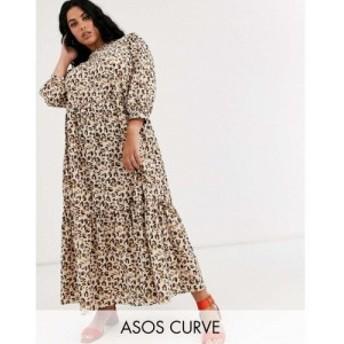 エイソス ASOS Curve レディース ワンピース ティアードドレス ワンピース・ドレス asos design curve tiered maxi dress in leopard pri