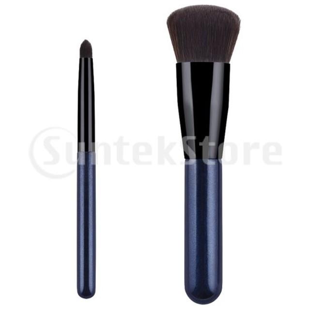 化粧筆 アイシャドー アイシャドウブラシ ファンデーションブラシ メイクブラシ ポータブル 旅行用 2個入り