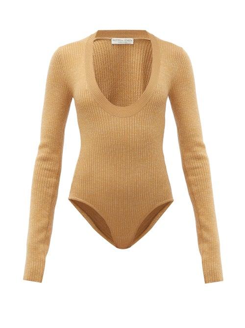 Bottega Veneta - Scoop-neck Ribbed Bodysuit - Womens - Camel
