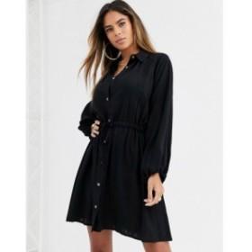 エイソス ASOS DESIGN レディース ワンピース シャツワンピース ワンピース・ドレス mini shirt dress with drawstring waist ブラック