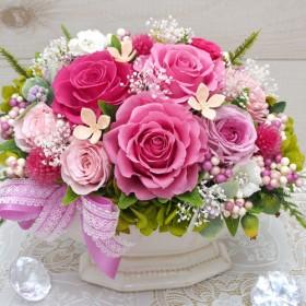 さまざまなお祝いにどうぞ!ピンク色のバラで幸せいっぱいのアレンジ ・プリザーブドフラワーアレンジメント