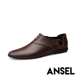 【Ansel】真皮頭層牛皮潮流鉚釘豹紋織帶拼接紳士休閒鞋 棕