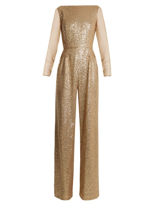 Azzaro - Anja Sequin-embellished Jumpsuit - Womens - Gold