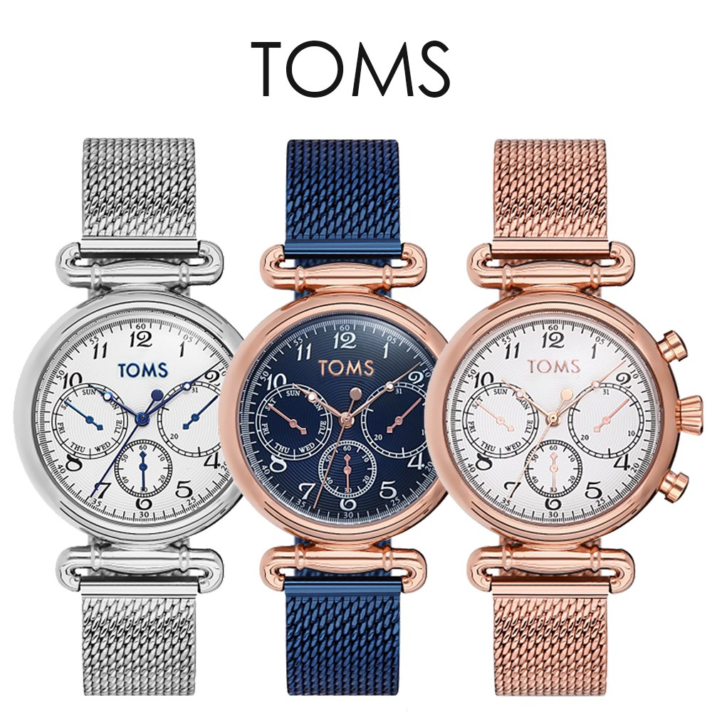 TOMS 氣質米蘭帶三眼手錶(81966)