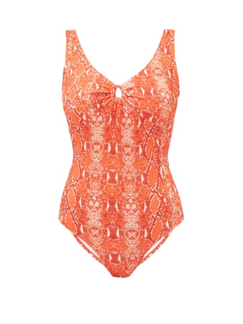 Diane Von Furstenberg - Lori Scoop-back Python-print Swimsuit - Womens - Orange