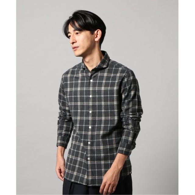 エディフィス ネルチェック カッタウェイシャツ メンズ グレー S 【EDIFICE】