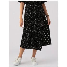 miroir de ensuite ★プリントラップフレアスカート その他 スカート,ブラック