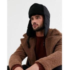 リバーアイランド River Island メンズ 帽子 trapper hat in black borg ブラック