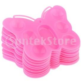 アクリルの水彩画のピンクのための10の蝶形のプラスチックペンキのパレット皿