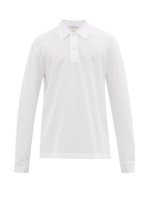 Bottega Veneta - Long-sleeved Cotton-piqué Polo Shirt - Mens - White