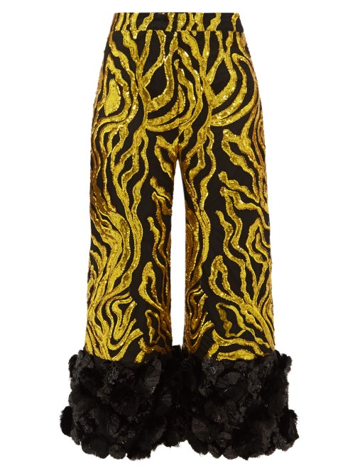 Halpern - Vine-sequinned Appliqué-cuff Trousers - Womens - Gold Multi