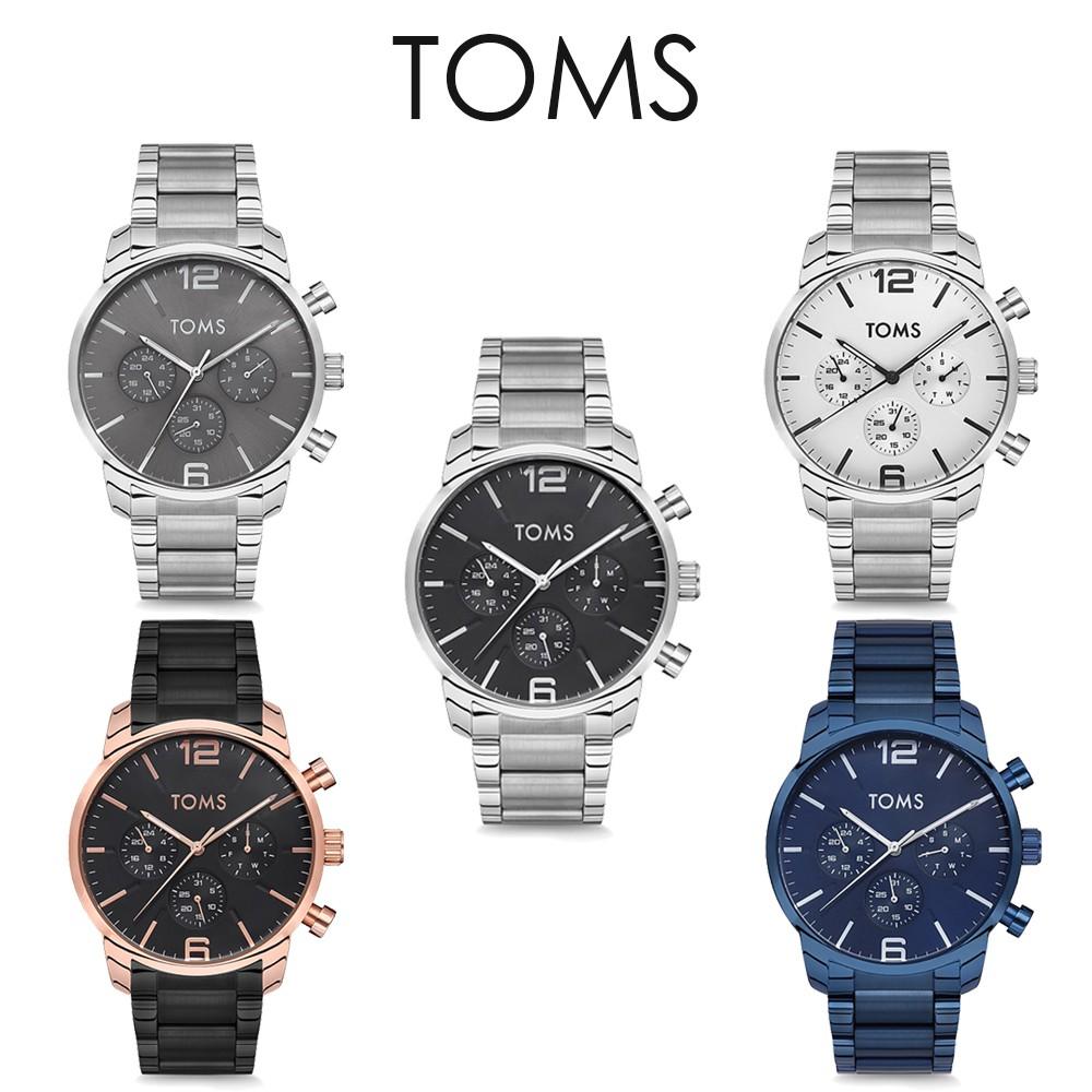TOMS 鋼帶商務三眼手錶(81858)