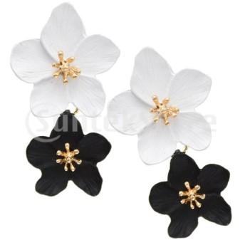 ファッション合金の花のイヤリング非対称カラーレディースイヤリングアクセサリータイプ1