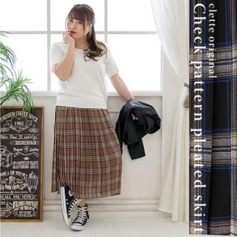 大きいサイズ レディース LL 3L 4L XL XXL XXXL cletteオリジナル★チェック柄プリーツスカート