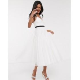 ニードル アンド スレッド Needle and Thread レディース ワンピース ミドル丈 bridal bow detail midi dress with contrast waistband i