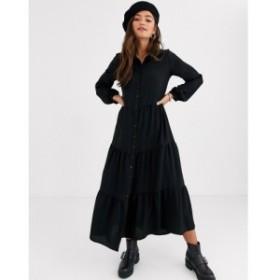 ニュールック New Look レディース ワンピース シャツワンピース ワンピース・ドレス maxi shirt dress in black ブラック