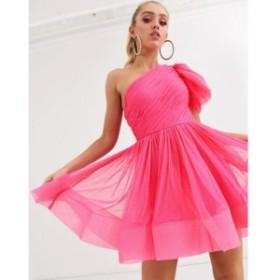 レース アンド ビーズ Lace and Beads レディース ワンピース ミニ丈 ワンピース・ドレス puff ball sleeve mini prom dress in neon pin