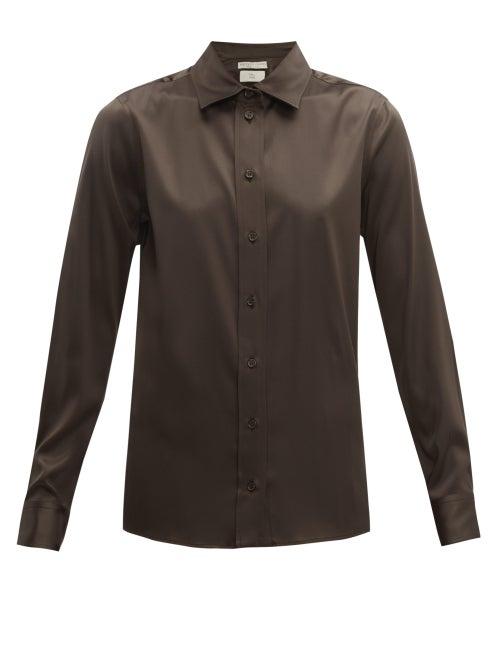Bottega Veneta - Point-collar Silk-blend Charmeuse Shirt - Womens - Dark Brown