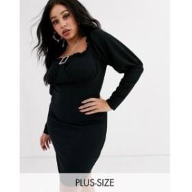 ミスガイデッド Missguided Plus レディース ワンピース ミニ丈 ワンピース・ドレス milkmaid mini dress with diamante buckle in black