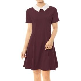 Allegra K ワンピース レディース Aライン フレアワンピース 半袖 丸襟 襟付き ドレス 細身 可愛い レッド XS