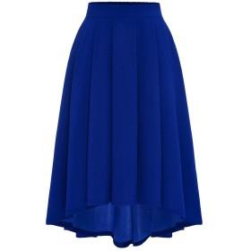 (ムアドレス) MUADRESS レディース Aライン プリーツスカート シフォン Hi-Lo ポケット付け 8色展開 フリーサイズ 純色 美脚 通学 通勤 旅行 チークカラー Sサイズ