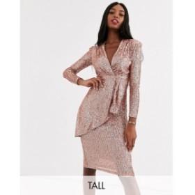 ジョンザック John Zack Tall レディース ワンピース ラップドレス ミドル丈 ワンピース・ドレス plunge front wrap midi dress in rose