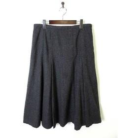 【中古】ルビークイーン Ruby Queen スカート ボックスプリーツ フレア ツイード カシミヤ ウール 19 チャコールグレー 大きいサイズ レディース