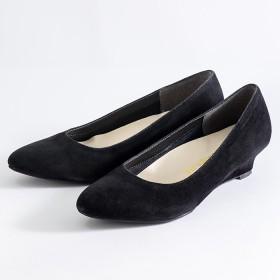 Ranan 幅広ゆったりアーモンドトゥウェッジパンプス ブラック 25.5cm レディース 5,000円(税抜)以上購入で送料無料 パンプス 夏 レディースファッション アパレル 通販 大きいサイズ コーデ 安い おしゃれ お洒落 20代 30代 40代 50代 女性 靴 シューズ