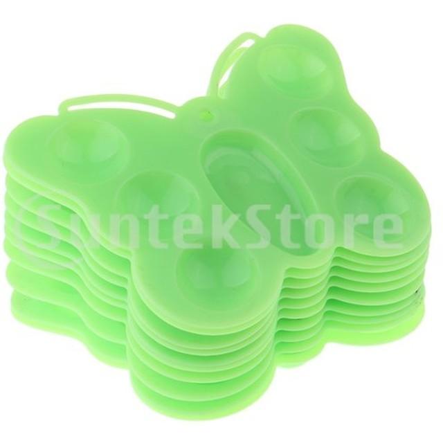 アクリルの水彩画の緑のための10の蝶形のプラスチックペンキのパレット皿