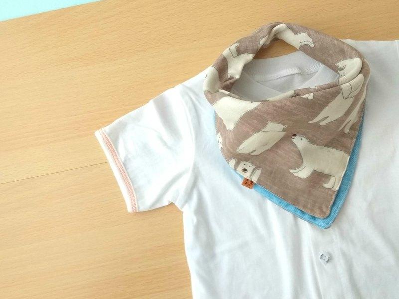 嬰兒圍嘴,口水巾,可逆,頭巾圍嘴,北極熊,日本雙層紗布
