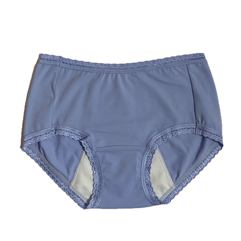 【MatchShop】台灣製素色短蕾絲中腰生理褲-藍