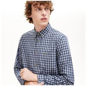 ラコステ オックスフォードチェックボタンダウンシャツ メンズ ブルー 40(日本サイズL) 【LACOSTE】
