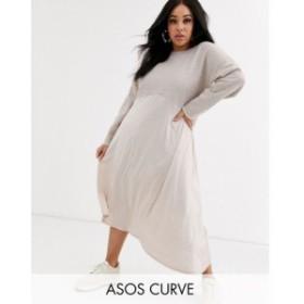 エイソス ASOS Curve レディース ワンピース ミドル丈 ワンピース・ドレス asos design curve sweat midi dress with slinky hem オート