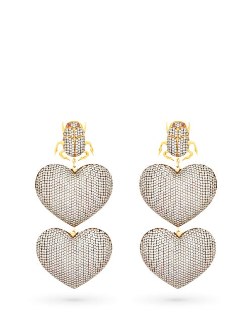 Begum Khan - Scarab Mon Amour Gold-plated Clip Earrings - Womens - Silver