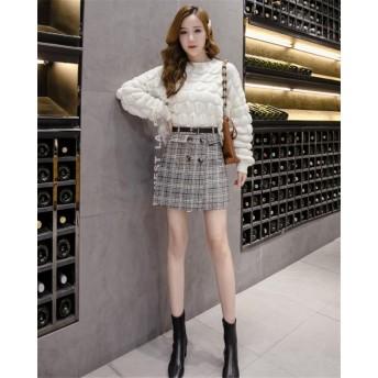 [55555SHOP]大特価 最安値★新作人気商品更新中! 最新 チェック柄 ハーフ丈スカート ハイウエスト 羊毛 ダブルボタン Aラインスカート ベルトを送信する 女性の秋と冬のモデル