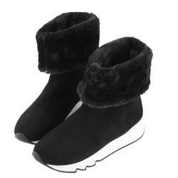 Robinlo 牛絨厚毛中筒雪靴 Linn-黑色