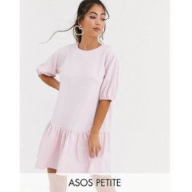 エイソス ASOS Petite レディース ワンピース ワンピース・ドレス asos design petite textured smock dress with pephem ピンク
